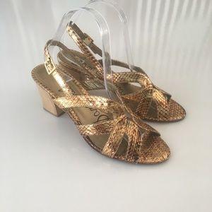 2/$25 Sam Edelman Luna gold Strappy heeled sandal